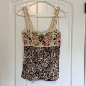 Anthropologie C. Keer Floral Embroidered Top Small